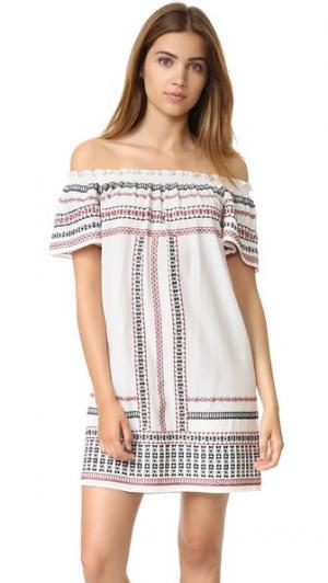 Платье с открытыми плечами и оборчатыми рукавами Love Sam. Цвет: состаренная слоновая кость/мульти