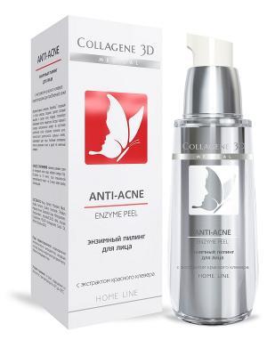 Гель-пилинг для лица энзимный ANTI-ACNE Medical Collagene 3D. Цвет: белый, красный
