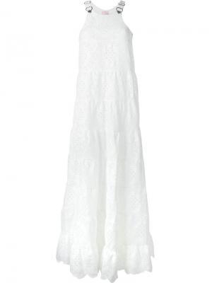 Кружевное платье Giamba. Цвет: белый