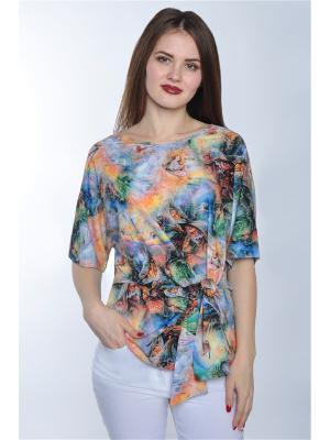 Блузка RISE. Цвет: зеленый,голубой,оранжевый