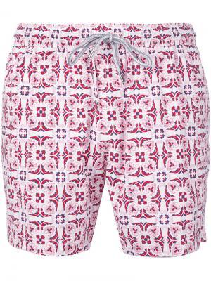 Пляжные шорты с геометрическим принтом Capricode. Цвет: красный