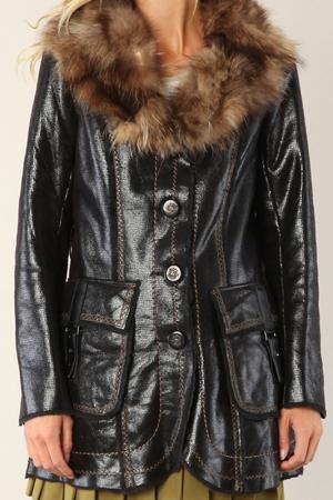 Sheepskin coat Isaco & Kawa. Цвет: black