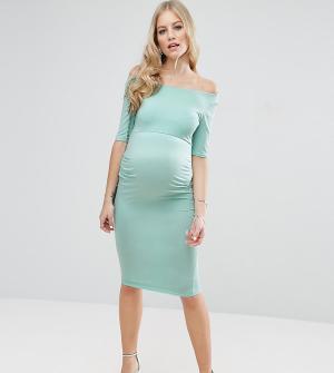 ASOS Maternity Платье для беременных с укороченными рукавами PETITE. Цвет: зеленый