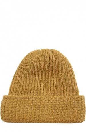 Вязаная шапка из смеси шерсти и мохера Tak.Ori. Цвет: желтый