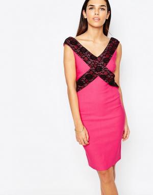 Vesper Платье-футляр с кружевной отделкой Beau. Цвет: розовый