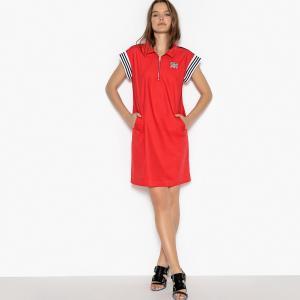 Платье спортивное с воротником-поло и застежкой на молнию спереди La Redoute Collections. Цвет: красный,черный