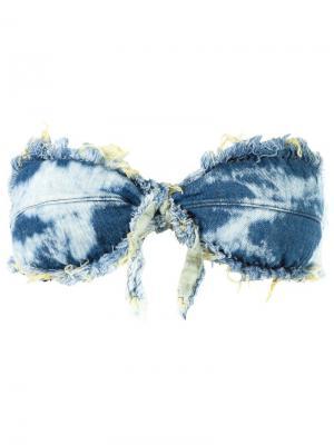 Frayed denim bandeau bikini top Blue Man. Цвет: синий