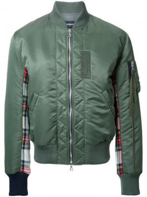 Куртка-бомбер с панелями в клетку Clothsurgeon. Цвет: зелёный