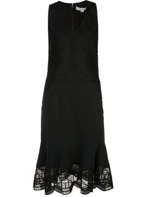 Платье с оборочным подолом Jonathan Simkhai. Цвет: чёрный