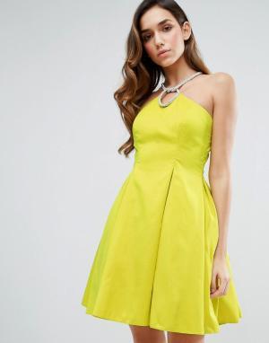 Forever Unique Платье с халтером. Цвет: зеленый