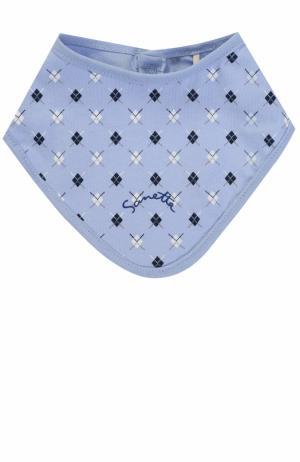 Хлопковый нагрудник с принтом Sanetta Fiftyseven. Цвет: голубой