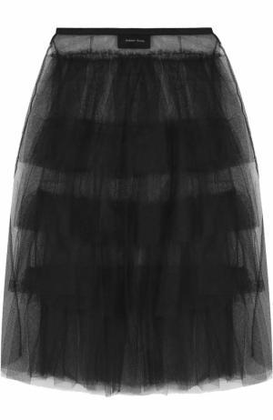 Многоярусная пышная юбка-миди Simone Rocha. Цвет: черный