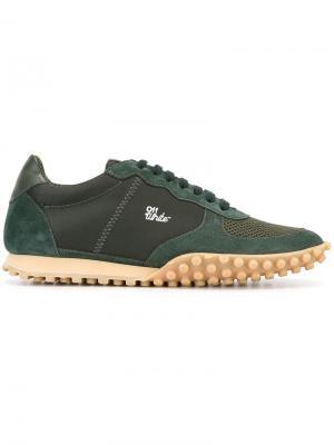 Кроссовки на шнуровке Off-White. Цвет: зелёный
