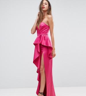 Taller Than Your Average Платье-бандо макси с оборкой TTYA BLACK. Цвет: розовый