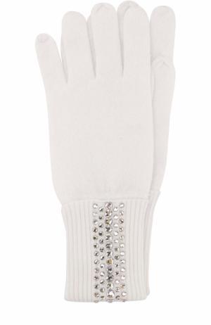Кашемировые перчатки с отделкой стразами Swarovski William Sharp. Цвет: белый