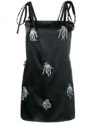 Атласное платье мини с аппликацией Attico. Цвет: чёрный