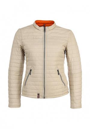 Куртка кожаная Oakwood. Цвет: бежевый