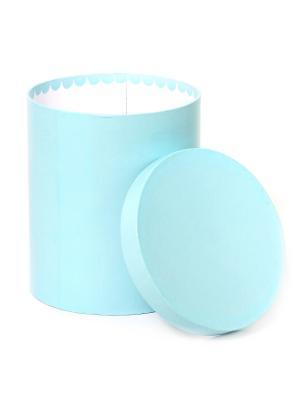 Коробка картонная, цилиндр для цветов 17х20 сантиметров. VELD-CO. Цвет: голубой