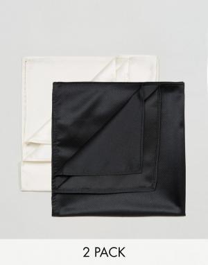 Devils Advocate 2 платка для пиджака (черный/белый). Цвет: черный