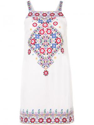 Платье с цветочным узором Nicole Miller. Цвет: телесный