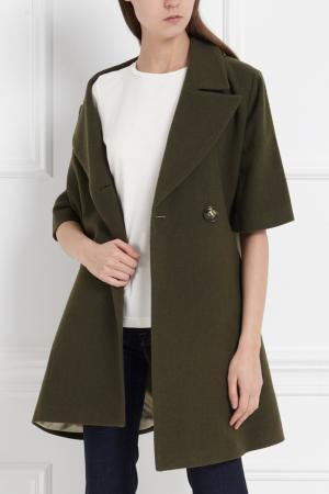 Однотонное пальто MoS. Цвет: хаки