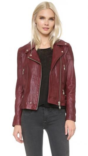 Кожаная байкерская куртка Doma. Цвет: бургунди