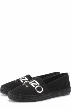 Замшевые эспадрильи с логотипом бренда Kenzo. Цвет: черный