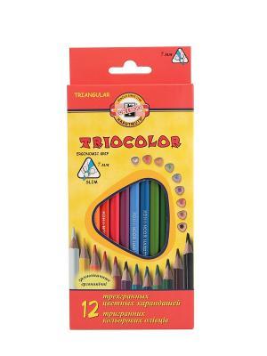 Набор карандашей цветных трехгранных Tricolor (12 цветов) Koh-i-Noor. Цвет: красный