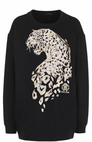 Удлиненный свитшот с вышивкой в виде леопарда Roberto Cavalli. Цвет: черный
