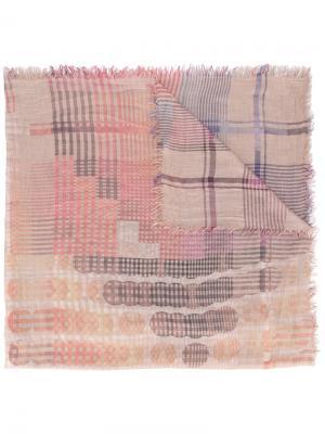 Шарф с узором из клеток и кругов Faliero Sarti. Цвет: розовый и фиолетовый