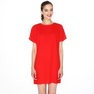 Платье прямое с короткими рукавами PEPALOVES. Цвет: красный