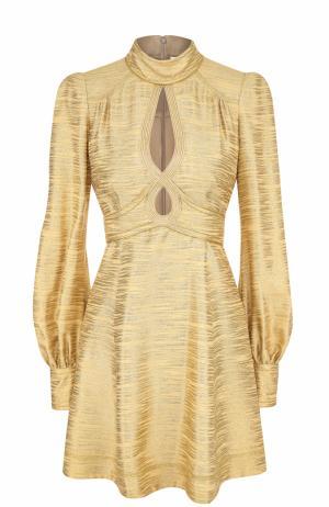 Мини-платье с воротником-стойкой и длинным рукавом Marc Jacobs. Цвет: золотой