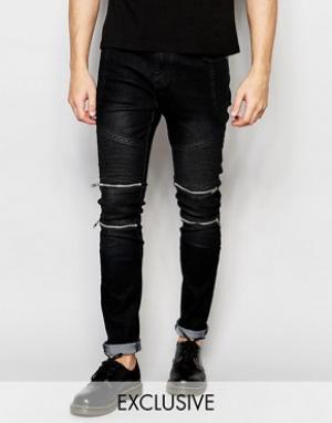 Liquor & Poker Узкие байкерские джинсы черного цвета. Цвет: черный