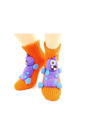 Носки-тапочки HOBBY LINE. Цвет: оранжевый