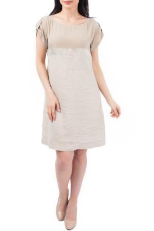 Легкое платье с коротким рукавом EUROPEAN CULTURE. Цвет: бежевый