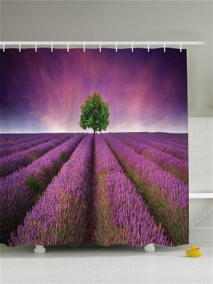 Фотоштора для ванной Лаванда на закате, 180*200 см Magic Lady. Цвет: фиолетовый, розовый, зеленый
