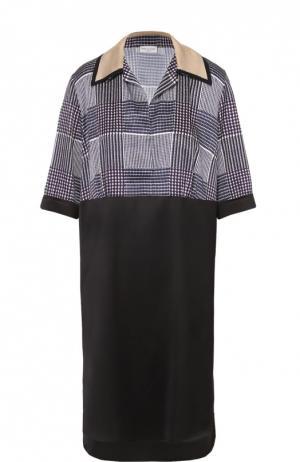 Платье-рубашка прямого кроя с укороченным рукавом Dries Van Noten. Цвет: фиолетовый