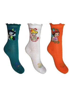 Носки 3 пары Master Socks. Цвет: морская волна, оранжевый, белый
