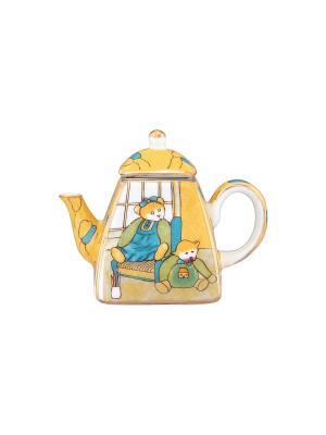 Сувенир-чайник Мишки Elan Gallery. Цвет: желтый, синий