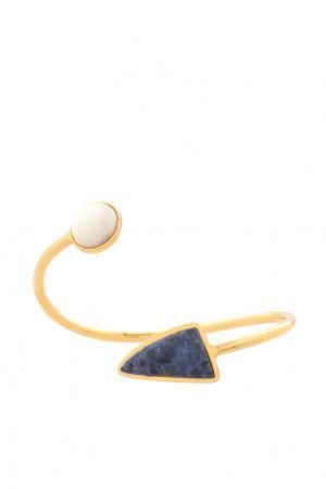 Позолоченный браслет из латуни с перламутром и дюмортьеритом Lizzie Fortunato. Цвет: золотой, синий, белый