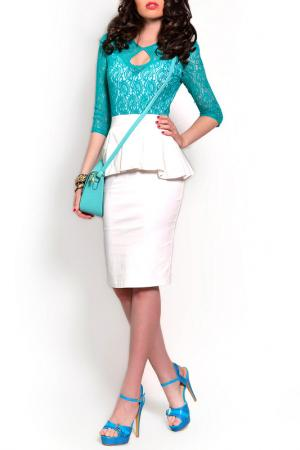 Платье MONT PELLIER. Цвет: белый, изумрудное кружево