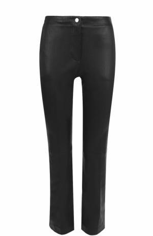 Расклешенные кожаные брюки Helmut Lang. Цвет: черный