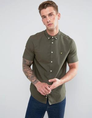 Lyle & Scott Зеленая оксфордская рубашка с коротким рукавом. Цвет: зеленый
