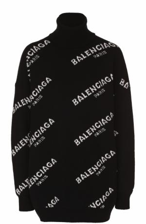 Свитер свободного кроя с логотипом бренда Balenciaga. Цвет: черный