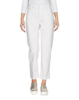 Джинсовые брюки-капри WOOD. Цвет: светло-серый
