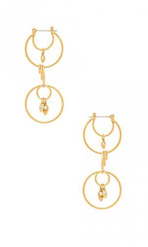 Серьги-кольца eclipse Luv AJ. Цвет: металлический золотой