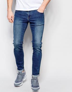 Dr Denim Облегающие джинсы из стираного денима. Цвет: синий