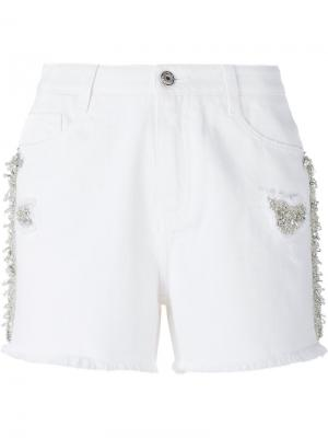 Bead and crystal embellished shorts Ermanno Scervino. Цвет: белый