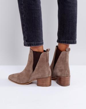 Dune Замшевые ботинки челси на каблуке. Цвет: бежевый