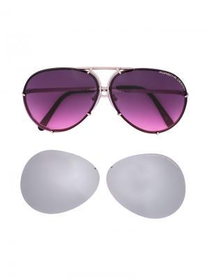 Солнцезащитные очки в круглой оправе Porsche Design. Цвет: розовый и фиолетовый